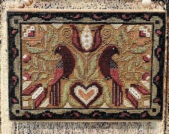 Counted Cross Stitch Pattern, Two In a Bush, Two Birds, Folkart, Fraktur Birds, Americana, Love Birds, Teresa Kogut, PATTERN ONLY