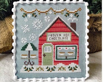 Counted Cross Stitch, Snow Village, Frozen Hot Chocolate Shop, Cottage Decor, Winter Decor, Country Cottage Needleworks, PATTERN ONLY
