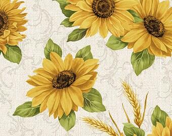 Quilt Fabric, Sunflower Meadow, Accent on Sunflowers, Linen, Quilters Cotton, Blender Fabric, Jackie Robinson, Animas Quilts, Benartex