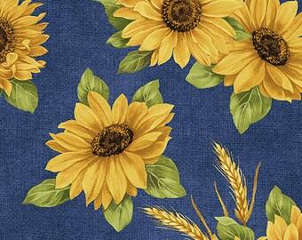 Quilt Fabric, Sunflower Dance, Accent on Sunflowers, Blue, Quilters Cotton, Blender Fabric, Jackie Robinson, Animas Quilts, Benartex