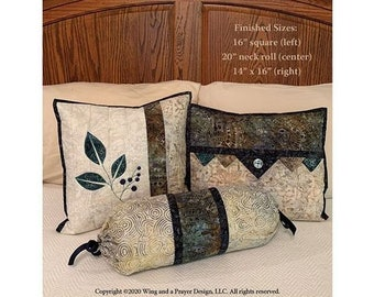 Quilt Pattern, Top It Off, Throw Pillows, Applique Pillow, Bed Pillows, Decorative Pillows, Bolster, Wing and a Prayer Designs, PATTERN ONLY