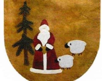 Wool Applique Pattern, St. Nicholas, Mini Mat, Candle Mat, Christmas Decor, Primitive Decor, Santa, Lily Anna, Home Decor, PATTERN ONLY