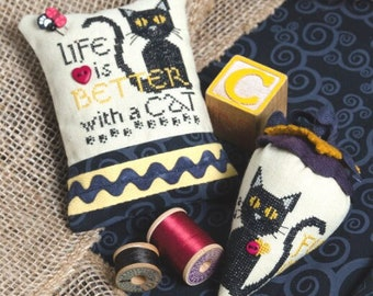 Counted Cross Stitch Pattern, Life is Better-Meow, Pin Pillow, Linen Berry, Berry Ornaments, Cat, Erica Michaels, PATTERN Only