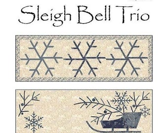 Quilt Pattern, Sleigh Bell Trio, Table Runners, Snowflakes, Sleigh, Christmas Trees, Laundry Basket Quilts, Edyta Sitar, PATTERN ONLY