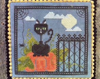 Counted Cross Stitch Pattern, Bella Luna, Cat, Pumpkins, Spider, Halloween Decor, Spooky, Spider Webs, Luhu Stitches, PATTERN ONLY