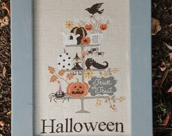 Counted Cross Stitch Pattern, Celebrate Halloween, Halloween Decor, Witch, Ghosts, Pumpkins, Spider, Crow, Madame Chantilly, PATTERN ONLY