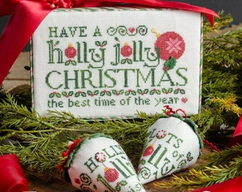 Counted Cross Stitch Pattern, Holly Jolly Christmas, Christmas Decor, Christmas Berries, Gift Box, Erica Michaels, PATTERN Only
