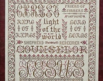 Counted Cross Stitch Pattern, The Name of Jesus, Scriptural Sampler, Christian Sampler, Inspirational, My Big Toe Designs, PATTERN ONLY