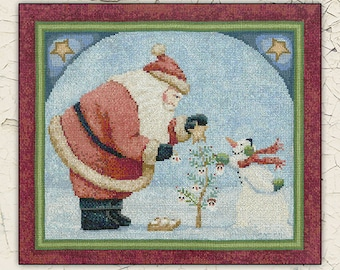 Counted Cross Stitch Pattern, Good Tidings, Christmas Cross Stitch, Santa Claus, Snowman, Christmas Tree, Teresa Kogut, PATTERN ONLY
