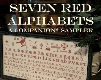 Counted Cross Stitch, Seven Red Alphabets, Alphabet Sampler, Reproduction Sampler, Antique Reproduction, Red Sampler, Needle Work Press