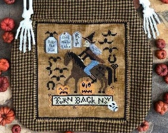 Counted Cross Stitch Pattern, Western Witch, Halloween Decor, Skull, Pumpkins, Bats, Tombstones, Key, Horse, Kathy Barrick, PATTERN ONLY
