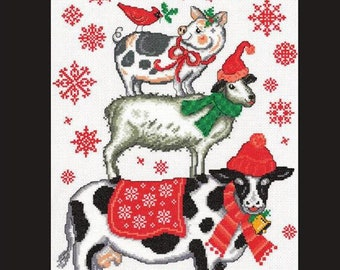 Counted Cross Stitch Pattern, Holiday Farm Animals, Cross Stitch, Christmas Decor, Cow, Goat, Pig, Imaginating, Ursula Michael, PATTERN ONLY