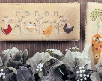 Cross Stitch Pattern, Free Range, Fresh Eggs, Farmhouse Decor, Bee's Garden, Garden, Counted Cross Stitch, Cricket Collection, PATTERN ONLY