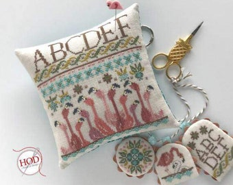 Counted Cross Stitch Pattern, You Had Me at Flamingo, Pocket Pillow, Flamingo Sampler, Scissor Charms, Beach, Hands On Design, PATTERN ONLY