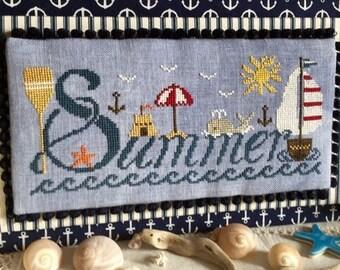 Counted Cross Stitch Pattern, Summer, Beach Decor, Whale, Ocean Waves, Anchor, Beach Sampler, Summer Decor, Rovaris, PATTERN ONLY