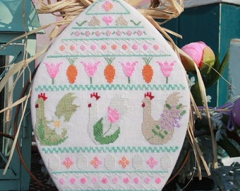 Cross Stitch Pattern, Spring Chickens, Spring Decor, Daisies, Eggs, Flowers, Band Sampler, Garden Decor, Luhu Stitches, PATTERN ONLY