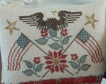 Counted Cross Stitch Pattern, Patriotic Rose, American Eagle, American Flag, Patriotic Decor, Threadwork Primitives, Nan Lewis, PATTERN ONLY