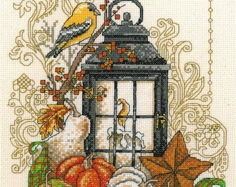 Counted Cross Stitch Pattern, Harvest Light, Thanksgiving Decor, Pumpkins, Fall Decor, Imaginating, Diane Arthurs, PATTERN or KIT ONLY