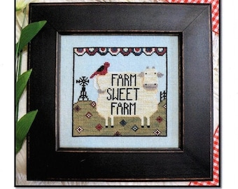 Counted Cross Stitch, Farm Sweet Farm, Primitive Crow, Windmill, Pasture, Patriotic Bunting, Americana, Annie Beez Folk Art, PATTERN ONLY