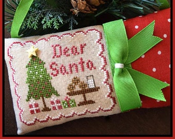 Counted Cross Stitch, Dear Santa, Christmas Ornament, Christmas Pillow, Milk and Cookies Ornament, Country Cottage Needleworks, PATTERN ONLY