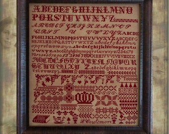 Counted Cross Stitch Pattern, Louisa Coulimore, Reproduction Sampler, Bristol Orphanage, Primitive Decor, Hands Across the Sea, PATTERN ONLY