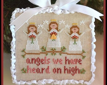 Counted Cross Stitch, Angels, Christmas Ornament, Christmas Pillow, Angels Ornament, Hymn, Country Cottage Needleworks, PATTERN ONLY