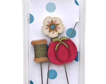 Just Sew, Pin Mini, Pins, Sewing Pins, Hand Made Pin, Stainless Steel Pin, Tomato Pin, Flower, Thread Spool, Just Another Button Company