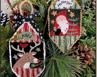 Punch Needle Pattern, Santa & Reindeer, Christmas Ornaments, Reindeer Ornament, Folk Art Decor, Primitive Decor, Teresa Kogut, PATTERN ONLY