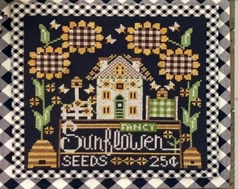 Counted Cross Stitch Pattern, Calendar Crates, August, Sunflowers, Summer Decor, Bee Skep, Stitching Housewives, PATTERN ONLY