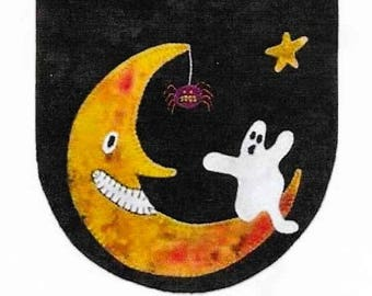 Wool Applique Pattern, Boo Moon, Mini Mat, Candle Mat, Halloween Decor, Primitive Decor, Fall Decor, Lily Anna, Home Decor, PATTERN ONLY
