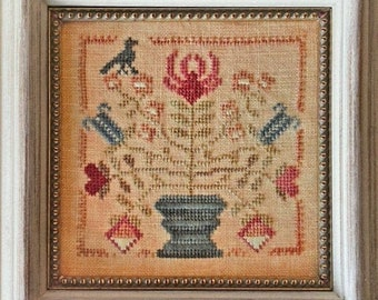 Counted Cross Stitch Pattern, Tulip and Lily, Tulips, Lilies, Black Crow, Flower Basket, Garden Decor, Blackbird Designs, PATTERN ONLY