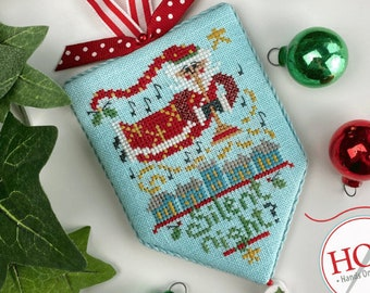 Counted Cross Stitch Pattern, Silent Night, Secret Santa, Christmas Decor, Santa Claus, Christmas Ornament, Hands On Design, PATTERN ONLY