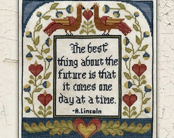 Counted Cross Stitch Pattern, One Day At a Time, Early American, American Folkart, Whimsical, Abraham Lincoln, Teresa Kogut, PATTERN ONLY