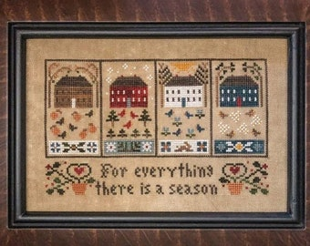 Counted Cross Stitch Pattern, Four Seasons, Winter, Spring, Summer, Fall, Inspirational, Scripture, Little House Needleworks, PATTERN ONLY