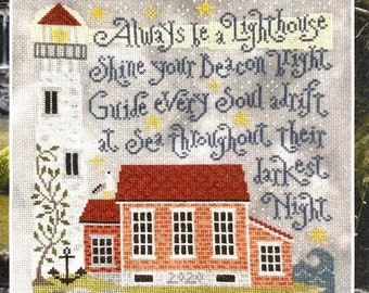 Counted Cross Stitch Pattern, Lighting the Way, Lighthouse, Saltbox House, Inspirational, Silver Creek Samplers, Pattern Only