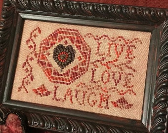 Cross Stitch Pattern, Quaker Love Letter, Valentine's Day, Wedding, Colonial Decor, American Heritage, Homespun Elegance, PATTERN ONLY