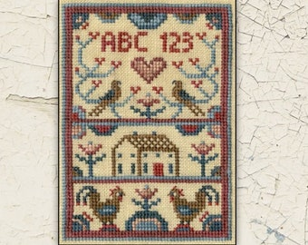 Counted Cross Stitch Pattern, Rooster Cottage, Farmhouse Sampler, Roosters, Saltbox House, Primitive Decor, Teresa Kogut, PATTERN ONLY