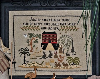 Counted Cross Stitch Pattern, Noah's Ark Sampler, Motif Sampler, Religious, Inspirational, Brenda Keyes, The Sampler Company, PATTERN ONLY