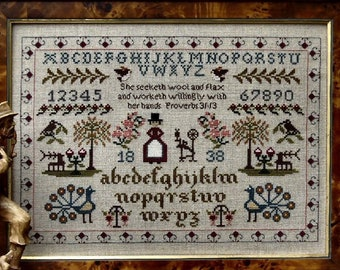 Counted Cross Stitch Pattern, She Seeketh Sampler, Sampler, Religious, Inspirational, Brenda Keyes, The Sampler Company, PATTERN ONLY