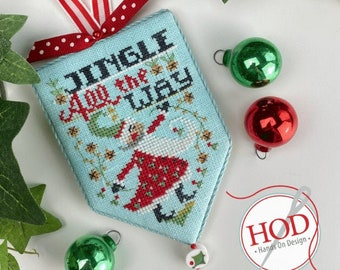 Counted Cross Stitch Pattern, Jingle All the Way, Secret Santa, Santa Claus, Christmas Ornament, Hands On Design, PATTERN ONLY