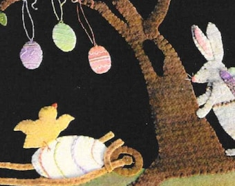 Wool Applique Pattern, Peeps and the Peeper, Wool Applique, Table Runner, Easter Decor, Spring Decor, Nutmeg Hare, Bunny, PATTERN ONLY