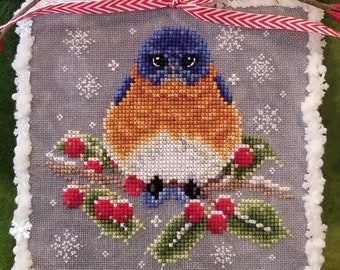 Counted Cross Stitch, Baby It's Cold Outside, Christmas Ornament, Bluebird Ornament, Winter Decor, Blackberry Lane Designs, PATTERN