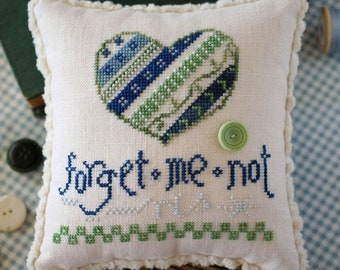 Cross Stitch, Forget Me Not, Pincushion, Bowl Filler, Pillow Ornament, Robin Sample, October House Fiber Arts, PATTERN ONLY