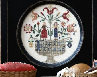Counted Cross Stitch Pattern, F is For Friend, Friend Sampler, Alphabet Series, Flower Garden, Folk Art, Heartstring Samplery, PATTERN ONLY
