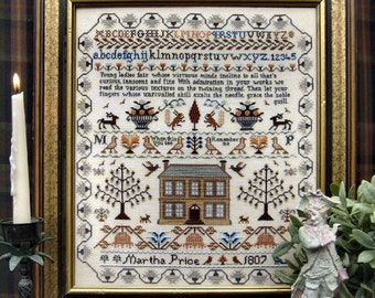 Counted Cross Stitch Pattern, Martha Price Sampler, Motif Sampler, Inspirational, Brenda Keyes, The Sampler Company, PATTERN ONLY