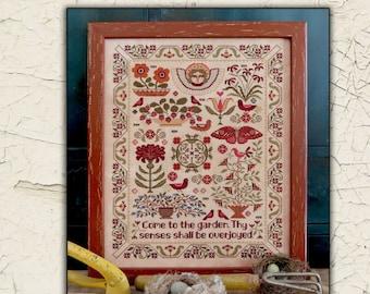 Counted Cross Stitch Pattern, Come to the Garden, Butterflies, Flowers, Angel, Birds, Primitive Decor, Teresa Kogut, PATTERN ONLY
