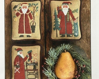 Counted Cross Stitch, Santas Revisited IX, Ornaments, Santas, Christmas, Partridge, Pear Tree, Stocking, The Prairie Schooler,  PATTERN ONLY