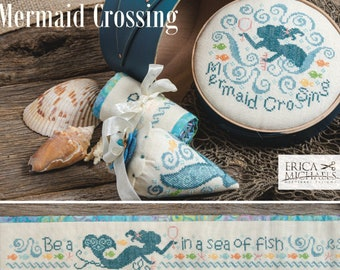 Counted Cross Stitch Pattern, Mermaid Crossing, Pin Berries, Needle Roll, Box Top, Shabby Cottage, Erica Michaels, PATTERN ONLY
