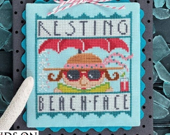 Counted Cross Stitch Pattern, Resting Beach Face, Beach Decor, Summer Decor, Cottage Chic, Hands On Design, PATTERN ONLY