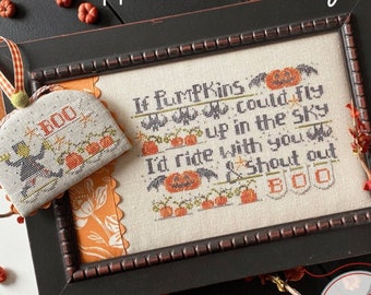 Counted Cross Stitch Pattern, If Pumpkins Could Fly, Fall Decor, Halloween Decor, Pumpkins, Hands On Design, PATTERN ONLY